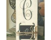 Rustic monogram chalkboard