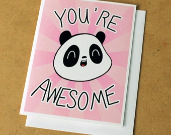 You're Awesome Panda Greeting Card - Pink
