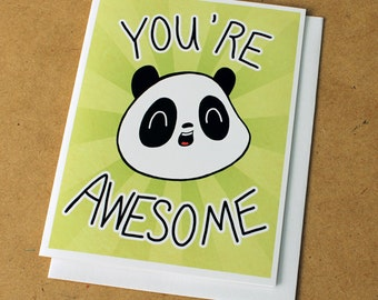 You're Awesome Panda Greeting Card - Green