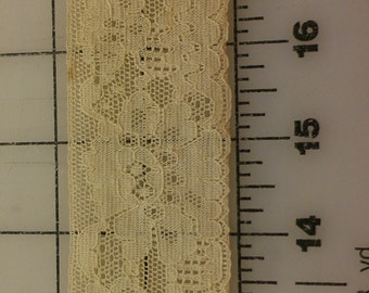 Vintage Flat Lace Pale Yellow just over 3yd