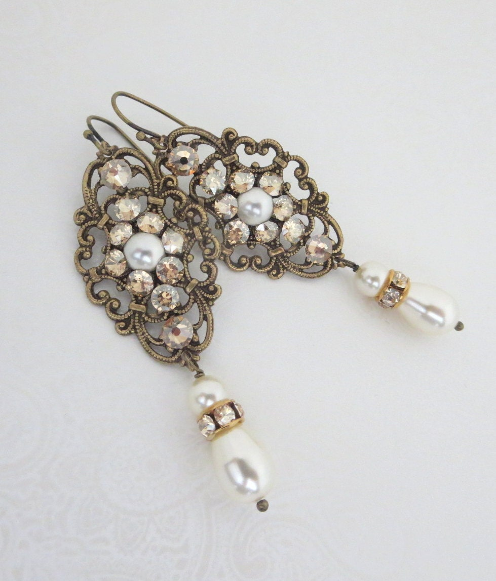 Pearl Bridal Earrings Crystal Wedding Earrings Vintage Style