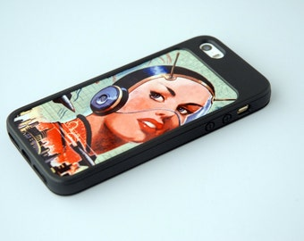 iPhone 6 Case Custom Phone Case Custom Insert + Black Bumper iPhone 4 Case iPhone 5 Case iPhone 6 Case Sci Fi Chic Science Fiction Art