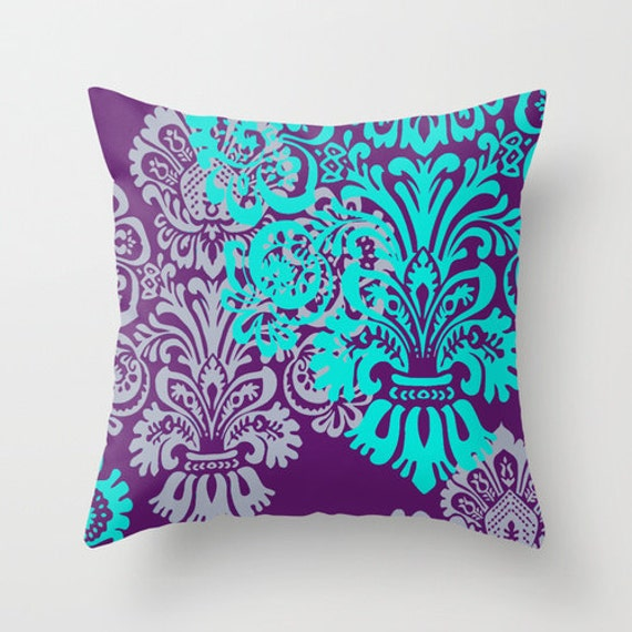 Jewel Tone Damask Pillow Cover Purple and Teal Lavender by hhprint