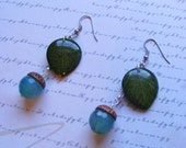 Blue Acorn Earrings-stone and resin, real leaves, 3 inches or 7 1/2 cm