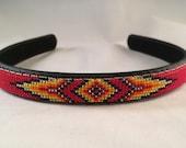 Headband - Navajo-Beaded - Red - Native American