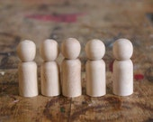 """5 Baby/Pet Peg Dolls - size 1.5"""" tall - Wooden Dolls - Hand-Turned Colombian Dolls Fair Trade"""