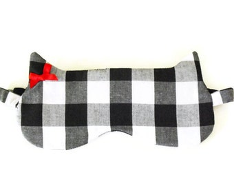 Gingham Cat Shape Sleeping Mask