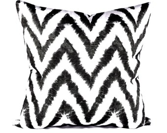 Black Chevron STUFFED Pillow - Black and White Throw Pillow - Diva Black Decorative Throw Pillow - Chevron Accent Pillow - Free Ship