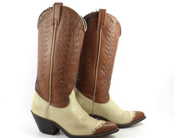 Cowboy Boots Vintage 1970s  Leather and Vinyl  Boots Women's size 6 1/2