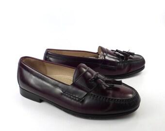 Cole Haan Loafers Vintage 1990s Tassel Burgundy Shoes Dress Men's size 10