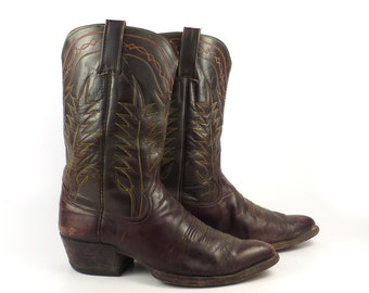 Brown Cowboy Boots Vintage 1970s Leather Distressed men's size