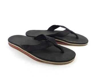 1980s Flip Flops Vintage Sandals Red Gray Black Stripe Foam 80s Eighties Scott Men's size 8