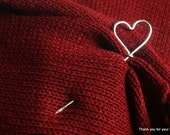 Aluminum Wire Silver Shawl Pin, Shawl Stick, Scarf Pin, Hair Pin, Brooch - Silvertone Wire with Heart