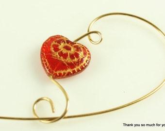 Dainty Red Heart Shawl Pin, Brooch, Scarf Pin - Dainty Czech Glass Heart Bead