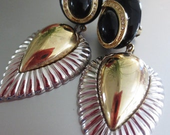 Clip On Vintage Earrings Rhinestone Black Gold Silver Long Retro Statement