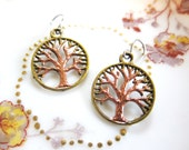 Tree of Life Hand Painted Charm Earrings Bronze Tone