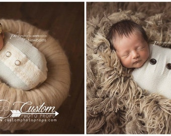 RTS Newborn Cocoon, ReVerSiBle - Button Newborn Props Snuggle Sack, Newborn Photography Props, Baby Props, Knit, Sleeper Sack, Ivory, Claire