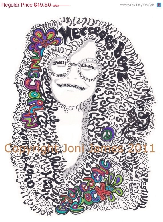Janis Joplin Portrait Word Art Pen and Ink Illustration, Psychedelic Hippie Art Typography Calligram Drawing, Janis Joplin Art