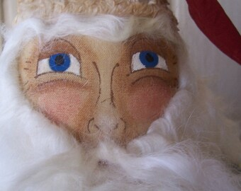 Primitive FolkArt Christmas Santa Head Nodder Makedo on Rusty Bedspring OFG, HAFAIR, FAAP