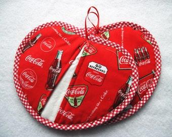 Hot pad  pot holder  set Coke Coca Cola Heartshaped pot pincher