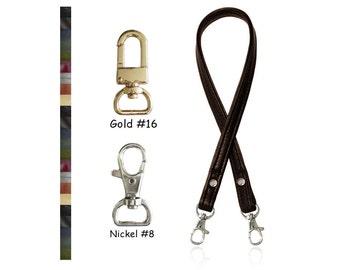 """ON SALE! Leather Handbag Strap - 1/2"""" Wide - Choose Leather Color, Length & Gold or Nickel Hooks"""