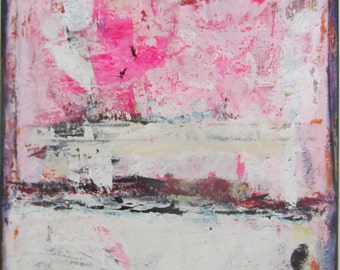 Pink Art Abstract Pink Contemporary Painting 24 x 30 inches by Francine Ethier