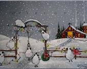 A Christmas Welcome a Sheep, Barn, Country  Snow Print by Deborah Gregg