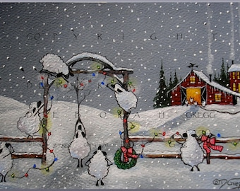 A Christmas Welcome a Sheep, Barn, Country  Snow Print by Deborah Gregg