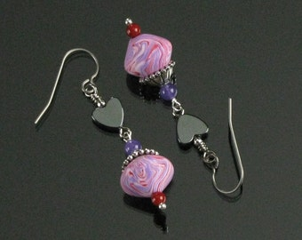 Whimsical Heart Dangle Earrings - Polymer Clay Earrings - Valentine's Day Gift for Her - Unique Heart Jewelry Gift - Unique Gift for Women