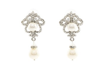 Bridal  Earrings, Vintage Wedding Earrings , Wedding Jewelry , Ivory Pearl Earrings , Bridal Crystal Earrings , Dangle Wedding Earrings