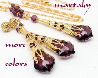 Gold Jewelry Set, Amethyst Eggplant Necklace Long Earrings, Purple Baroque Swarovski Crystal, Filigree Bridal Bridesmaids