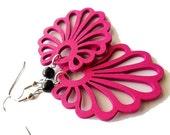 Deep Fuchsia Pink and Black Glass Wooden Fan Earrings