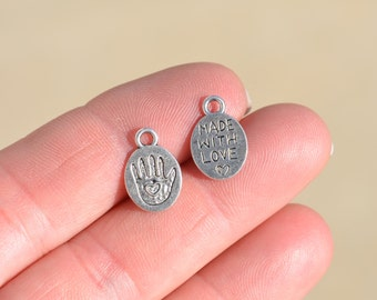 10 Silver Made with Love  Charms SC2445