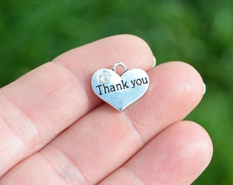 BULK 20 Silver Heart Shaped, Thank you Charms SC3437