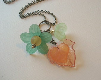 Leaf Necklace Autumn Orange Flower Necklace Fall Flower Necklace Statement Nekclace Autumn Jewelry Ready to Ship