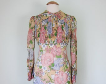 70s maxi pink & yellow floral print peter pan collar smocked long sleeve dress (s - m)