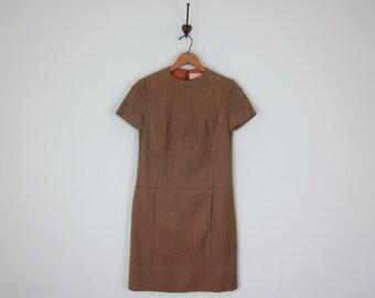 60s pendleton ochre wool herringbone shift mini mod pockets dress (s - m)