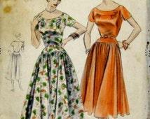 1950s Vogue Dress Pattern: 50s Vogue One Piece Dress, Vogue 8254