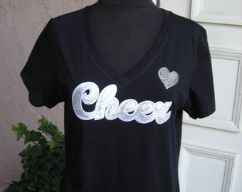 Cheer in Sequins with Clear Crystal Heart T Shirt