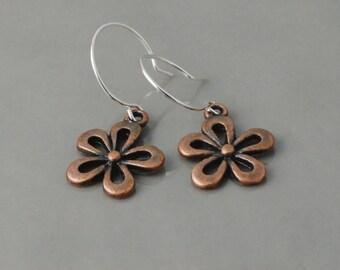 Copper flower earrings, daisy earrings, silver ear wires