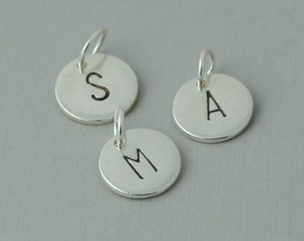 Initial charm add on, hand stamped, silver initial charm, add on, initial Pewter