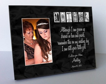 """Mother  Architectural Name Alphabet Letter Art Personalized Black and White 8""""x10"""" Frame with a 4""""x6"""" Opening"""