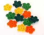 Crochet Flowers Set of 12 Green Orange Yellow