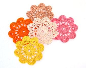 Mini Crochet Doilies in Coral Peach Orange Yellow Tan