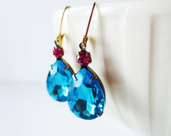 Jewel earrings.  Blue earrings.  Teardrop earrings.  Vintage earrings.  Estate earrings.  Blue fuchsia earrings.  Leverback earrings.
