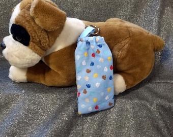 Pet Mess Plastic Bag Holder, Blue Multicolor Bones Print, Small, Elastic Top