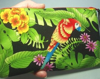 Padded Zipper Pouch Cosmetic Pouch or Change Purse in Tropical Macaw Parrot Print