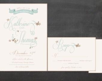 Floral Wedding Invitation Suite // Custom Elegant Floral with Pastel Colors Wedding Invitaiton