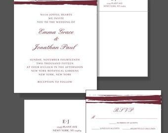 Marsala Wedding Invitation Suite - Custom Poster Wedding Invitaiton With 2015 Color of the Year