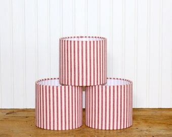 Chandelier Drum Lamp Shade - Lampshade - Sconce - Red and White Ticking Stripe Shades - Mini Drum Shade - Cottage - Lamp Shade - Custom